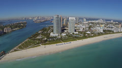 Aerial view flying into South Beach, Miami Stock Footage