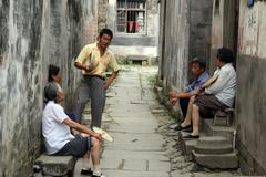 Group of elder villagers, anhui province, china Stock Photos
