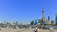 China, Shanghai, Timelapse, Pudong Skyline across Huangpu River Stock Footage
