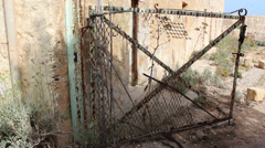 Old creepy gate Stock Footage