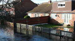 Dangerous flood levels hit English town Stock Footage