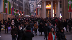 EXPO 2015 Milan and crowd in the city center Stock Footage