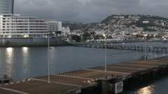 Departing Martinique city ship harbor evening HD BM 1743 Stock Footage