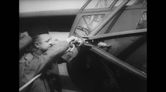 WW2 - US Air Force - Loading Aircraft 07 - Materials - Hadrian Linking Cable Stock Footage