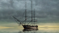 Sailing Ship in stormclouds and lightnings Stock Footage
