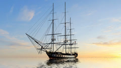 Sailing Ship  in the sunset Stock Footage