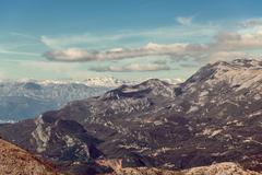 Seascape Montenegro. Mountains and islands. Stock Photos