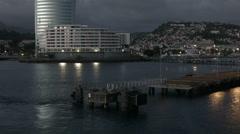 Departure Martinique city ship harbor evening HD BM 1744 Stock Footage