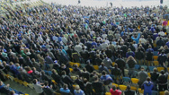 Stock Video Footage of Thousand supporters of football team clap in sync, stadium match