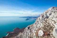 Stock Photo of Seascape Montenegro. Mountains and islands.