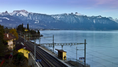4K time lapse: swiss train station near lake Stock Footage