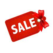 Stock Illustration of sale tag with red ribbon