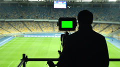 Broadcasting football match TV camera, green screen, coverage, click for HD - stock footage