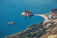 Stock Photo of Seascape Montenegro. Budva and Sveti Stefan.