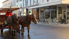 Horse Carriage Mackinac Island Stock Footage