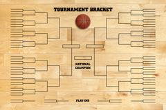 Basketball tournament bracket on wood gym floor Stock Photos
