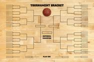 Stock Photo of basketball tournament bracket on wood gym floor