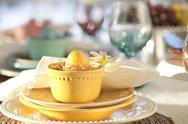 Stock Photo of selective focus view of easter dining scene