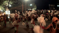 Dancers at the Esala Perahera grand festival. Stock Footage