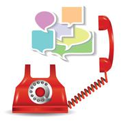red telephone and speech bubbles - stock illustration