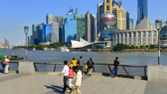 Stock Video Footage of China, Shanghai, Timelapse, Pudong Skyline across Huangpu River