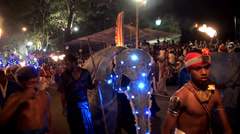 Colourfully decorated  Elephants at the Esala Perahera  festival. Stock Footage