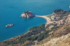 Seascape Montenegro. Budva and Sveti Stefan. - stock photo