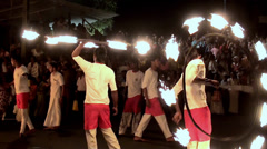 Fire Show at at the Esala Perahera grand festival. Stock Footage