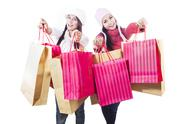 Stock Photo of winter shopping with bags isolated in white