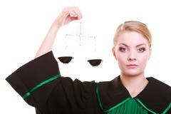 Naisten asianajaja asianajaja klassinen puola musta vihreä puku ja asteikot Kuvituskuvat