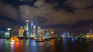 Stock Video Footage of Shanghai, Timelapse, Pudong Skyline across Huangpu River