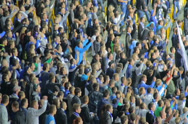 Stock Video Footage of Football ultras shouting for team, stadium arena supporters hand, click for HD