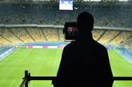 Stock Video Footage of Broadcasting TV cameraman shooting covering football match, fans, click for HD