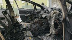 Burned car Stock Footage