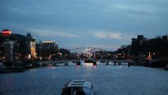 Stock Video Footage of Skinny Bridge Amsterdam, Holland, dawn, dusk