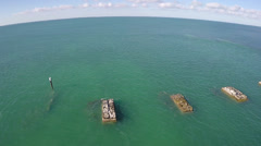 Old bridge remains in the Florida Keys Stock Footage