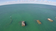 Stock Video Footage of Old bridge remains in the Florida Keys