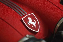 Stock Photo of Ferrari Engine Logo Close Detail Shot