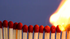 Matches in a raw catching fire. Stock Footage