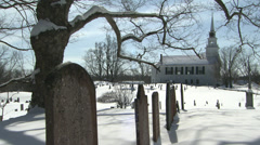 A New England Cemetery Near a Church with Ringing Bells Stock Footage
