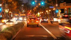 Night traffic in West Hollywood, Los Angeles, California Stock Footage