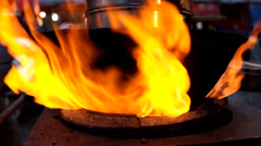 Fire flame is seen on a stove - stock footage