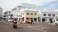 Birdcage Hamilton Bermuda Traffic Roundabout Stock Footage