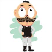 The man with thick mustache - stock illustration