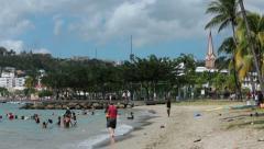 Martinique park beach school children swim pan HD 1480 Stock Footage