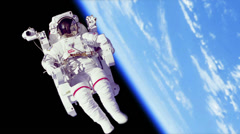 Astronaut Spacewalk by Earth - stock footage
