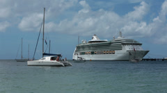 Martinique sailboats and cruise ship in harbor HD 1482 Stock Footage