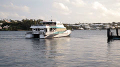 Ferry Leaving Port Stock Footage