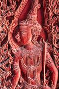 the art for wood carving of thai belief - stock photo