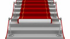 Red carpet rolling down stairs Stock Footage